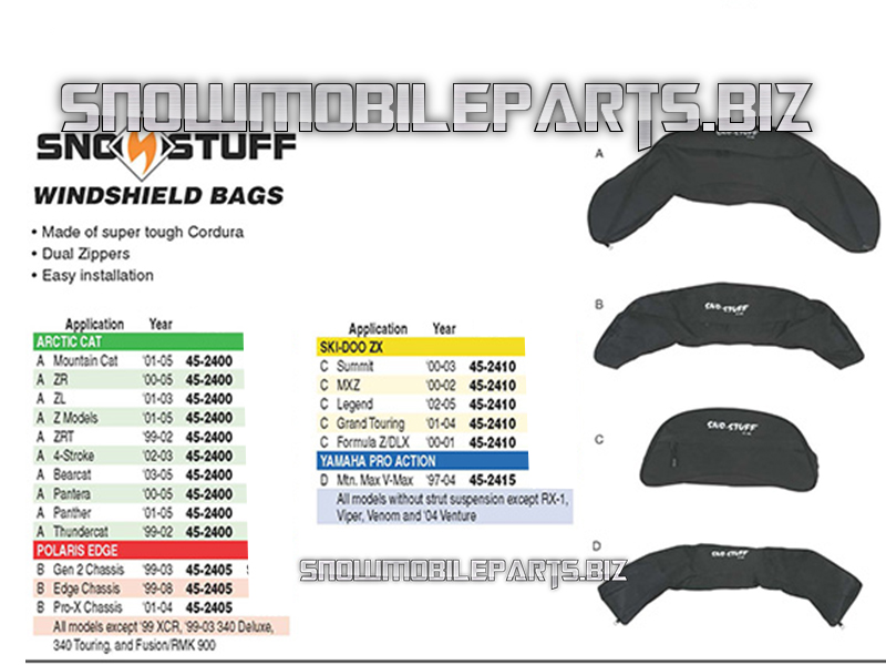 Sno Stuuf Windshield Bags